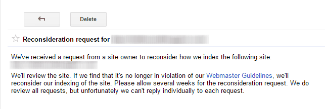 Google Search Console Webmaster Tools Reconsideration Request