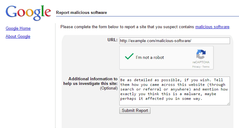 How To Report Websites Having Malware Software
