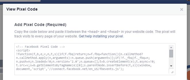 Install Facebook Pixel Conversion