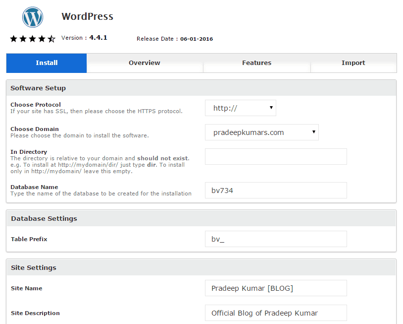 Install WordPress With cPanel Details