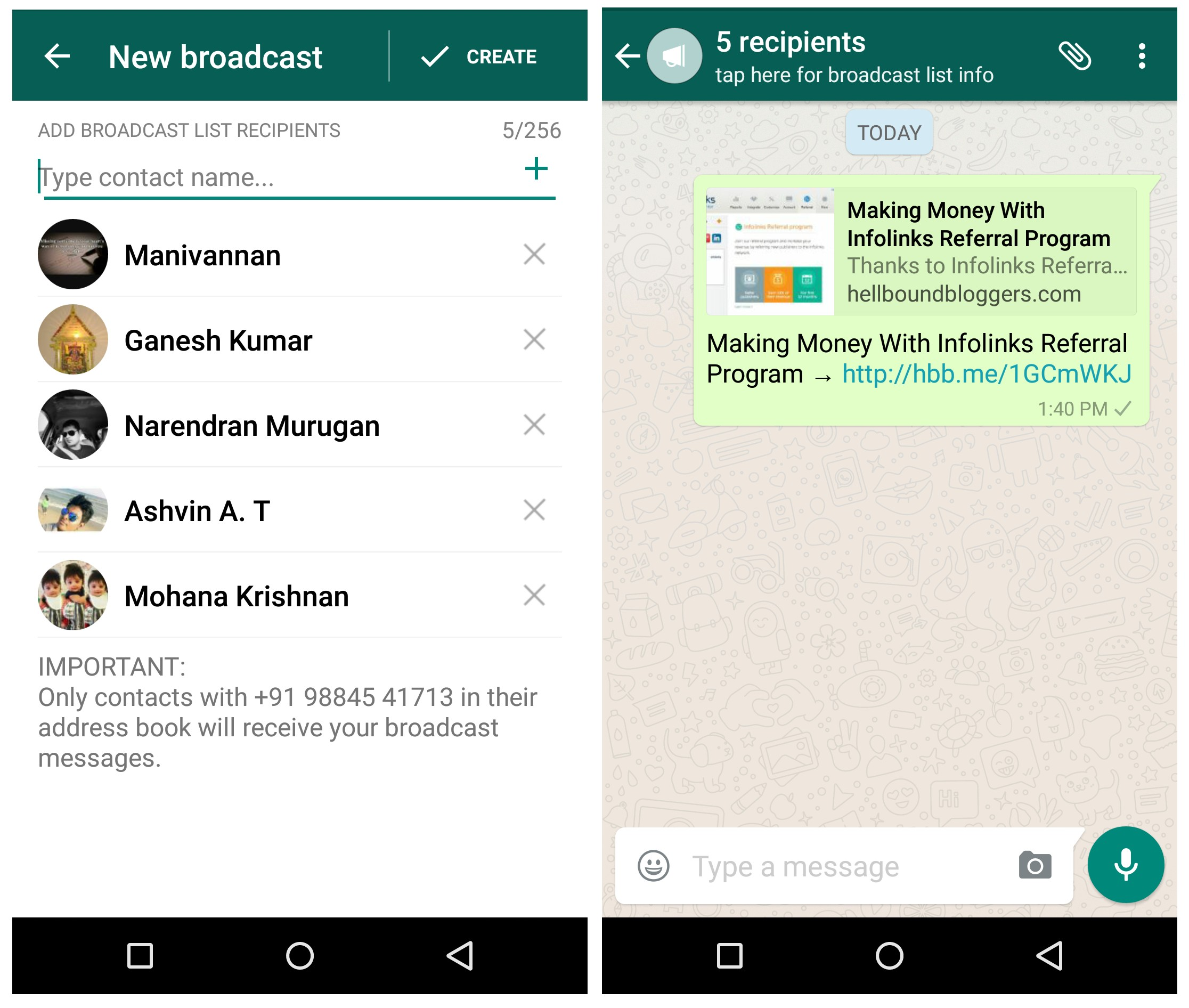 WhatsApp Broadcast Articles