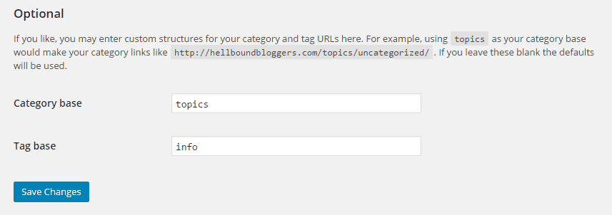 WordPress Category And Tag Settings