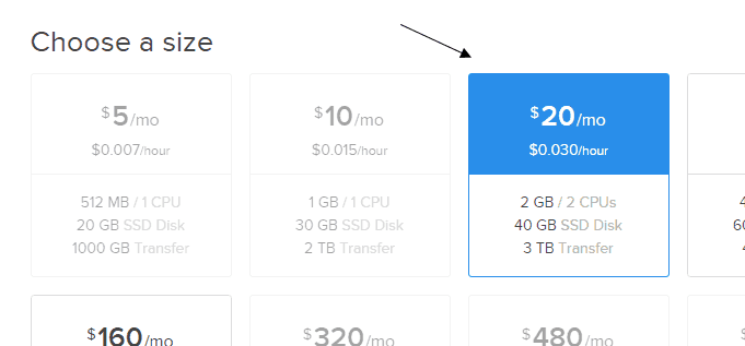 Discourse DigitalOcean Choose A Size