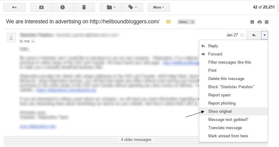 Gmail Email Show Original Option