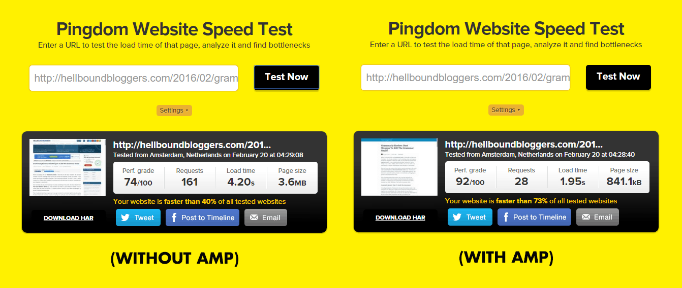 Without And Without AMP Speed Check