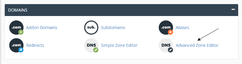 cPanel Domains Advanced Zone Editor