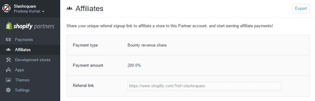 Shopify Affiliates Dashboard