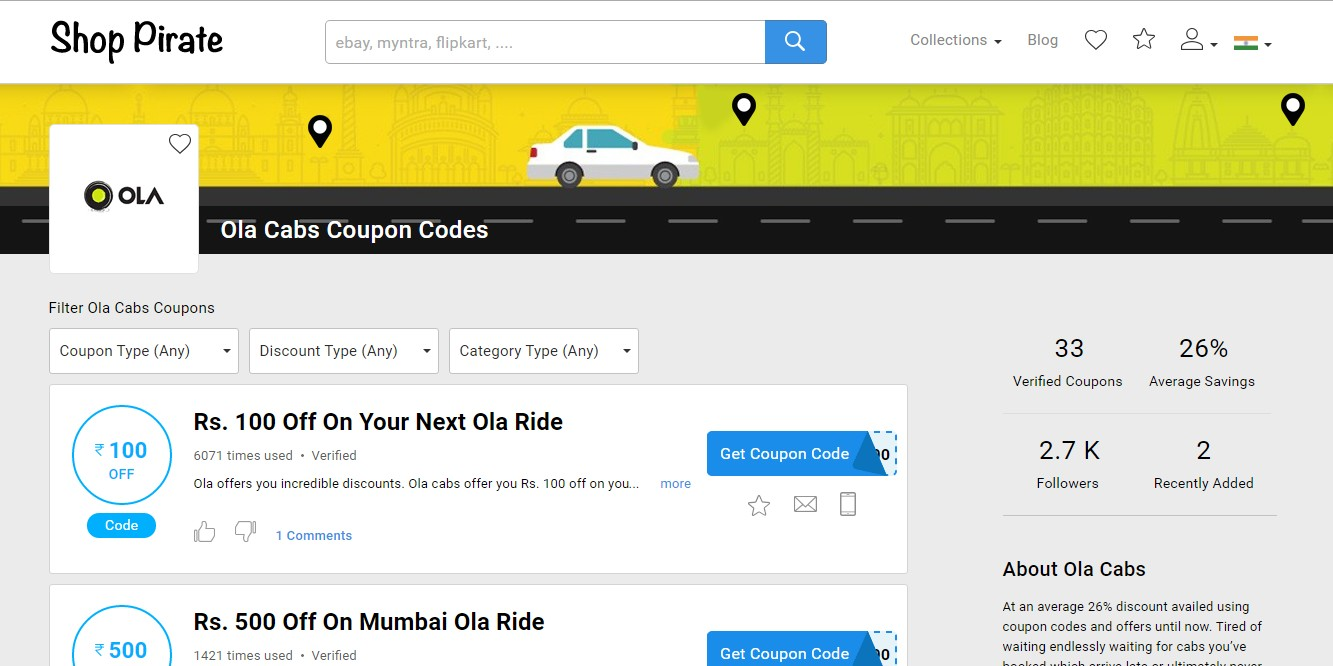 Shop Pirate OLA Coupon Codes