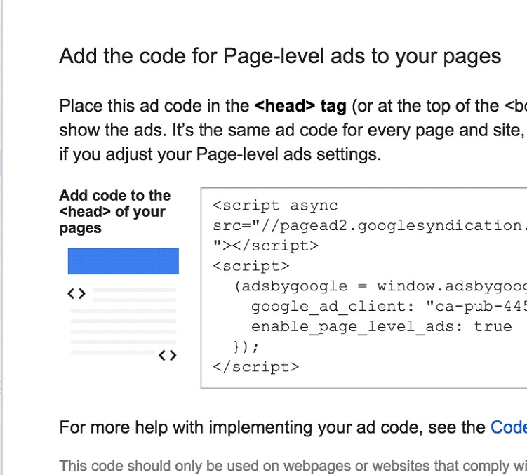 Copy Full Page Level AdSense Ads Code