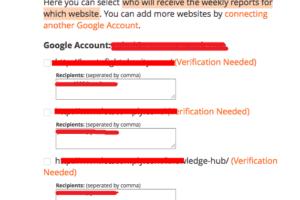SEO Report Account Configuration