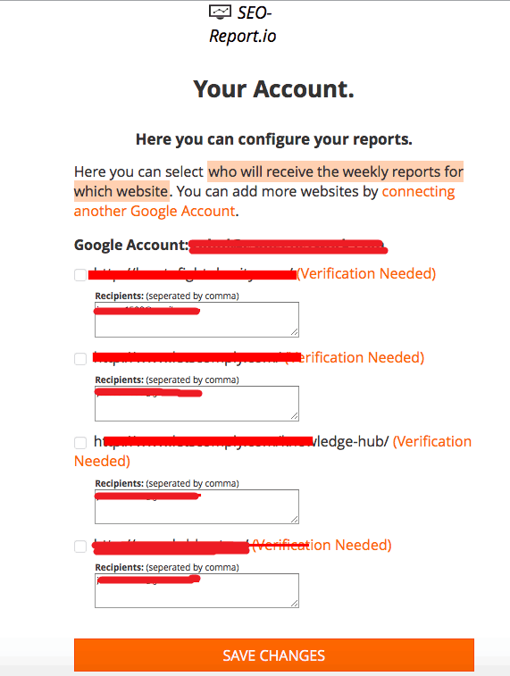 SEO Report Account Configuration