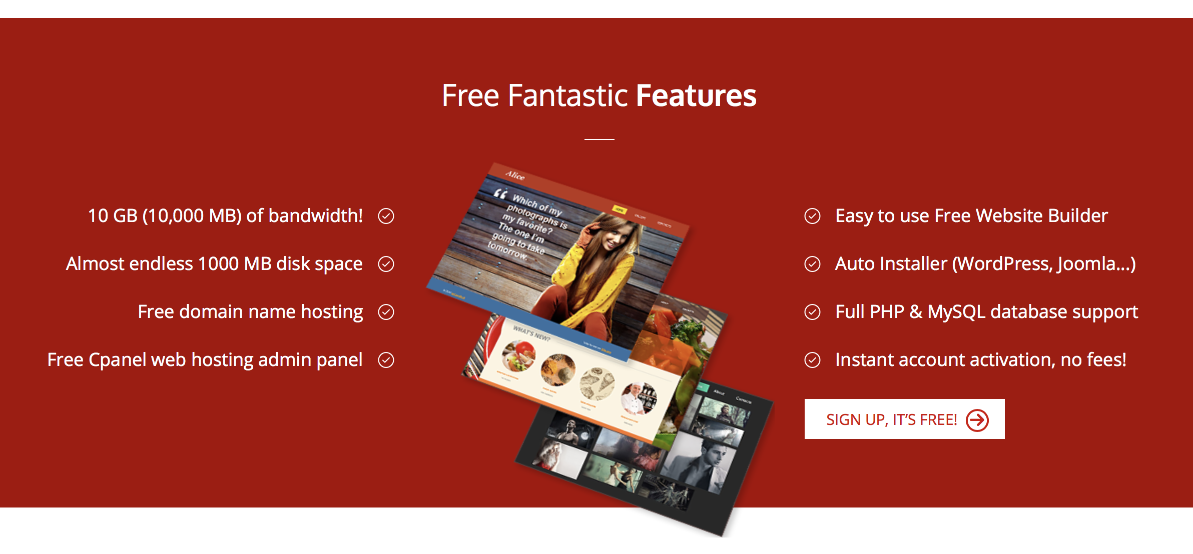 000Webhost Free Fantastic Features