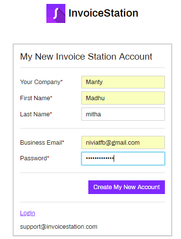 Invoice Station Create My New Account