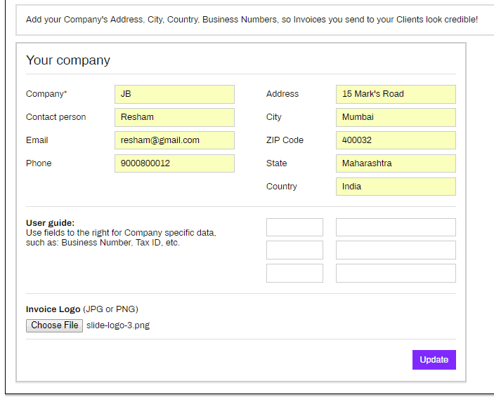 Your Company Details Invoice