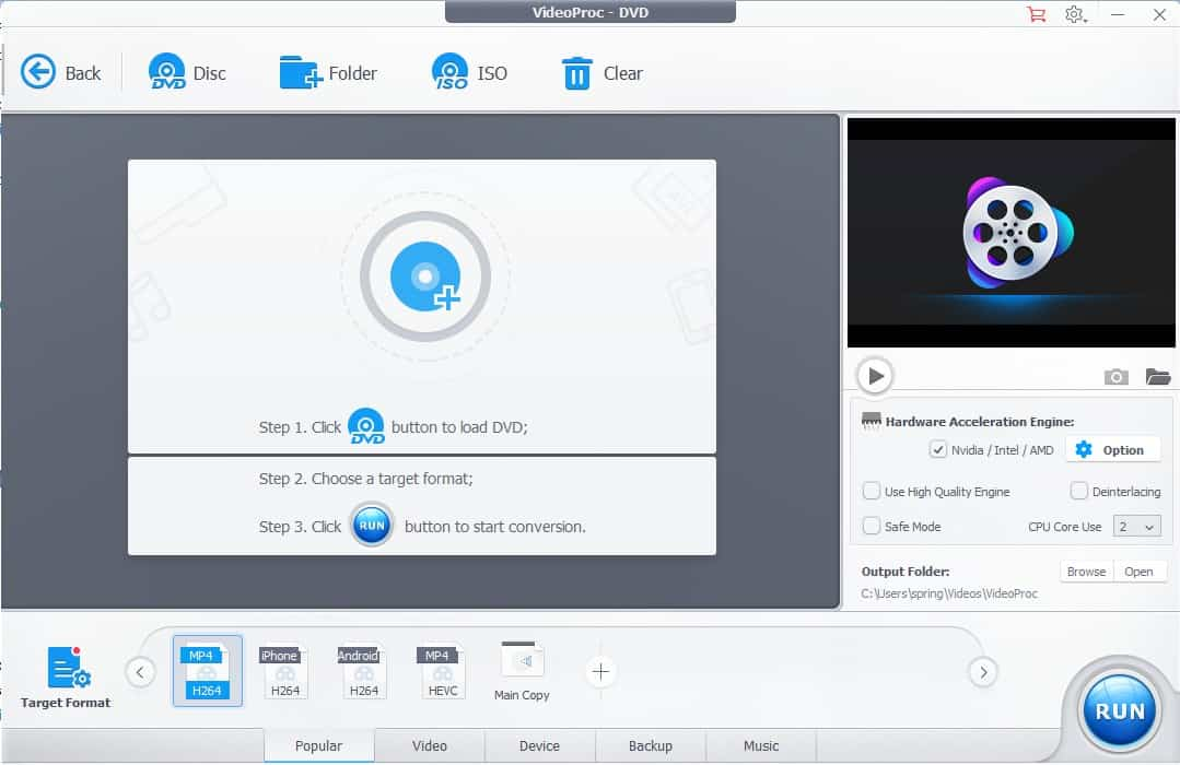 VideoProc DVD Conversion And Backup